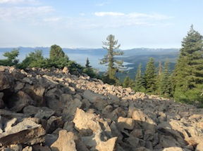 rockpile and lake, Tahoe Rim Trail, Brockway to Tahoe City segment
