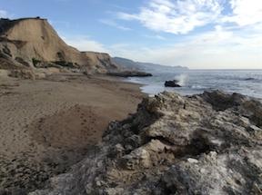 view south along Sculptured Beach